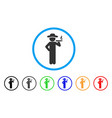 smoking gentleman rounded icon vector image vector image