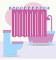 toilet bathtub shower and curtain bathroom vector image