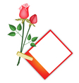Two Beautiful Red Roses with Blank Photos vector image vector image