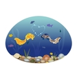 Two cute fish in love vector image vector image