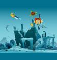 underwater ruins old city diver explorers vector image