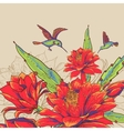 Vintage Card with Red Flowers and Hummingbirds vector image vector image
