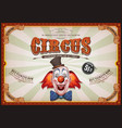 vintage circus poster with clown head vector image vector image