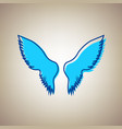 wings sign sky blue icon vector image