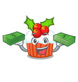 with money decorated christmas cupcakes cartoon vector image vector image