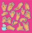 woman hands stickers badges and patches vector image vector image