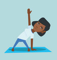 young african woman practicing yoga triangle pose vector image vector image