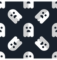 Seamless pattern white ghosts halloween background vector image