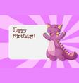 a dinosaur on birthday template vector image vector image