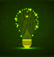 abstract glowing lamp with circuit board vector image vector image