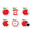 Apple apple core bitten half labels set vector image vector image
