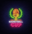 basketball tourament night neon logo vector image vector image