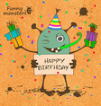 Birthday card with funny monster vector image