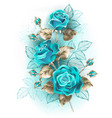 bouquet turquoise roses vector image vector image