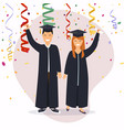 boy and girl graduates in flat design vector image