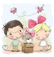 Boy and Girl with Cute Puppy vector image vector image