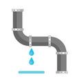broken metal pipe with leaking water flat style vector image