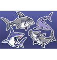 cartoon of shark collection pack vector image