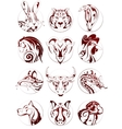 Chinese zodiac animals set vector image vector image