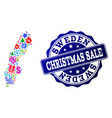 christmas sale composition of mosaic map of sweden vector image vector image