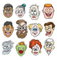 colorful doodle faces set vector image vector image