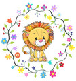 cute lion in a flowers frame vector image vector image