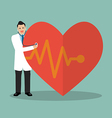 Doctor using stethoscope with big heart vector image