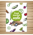 Drawn Food Market Sale Flyer vector image vector image