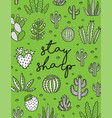 exotic print with hand drawn succulents and vector image vector image