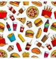 Fast food snacks drinks seamless background vector image vector image