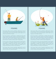 fishing on lake or river in motor boat poster vector image vector image