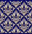 floral gold damask seamless pattern dark blue vector image vector image