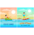 forever lovely summer colorful banner vector image vector image