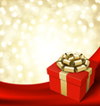 gift box with ribbon on curtain vector image vector image