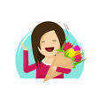 girl holding flowers bouquet vector image