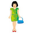 girl with bag vector image vector image