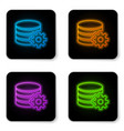 glowing neon setting database server icon vector image vector image