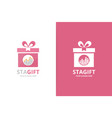 graph and gift logo combination diagram vector image