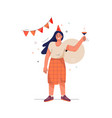 happy birthday concept smiling woman raises her vector image