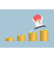 happy businessman jumping on money step vector image vector image