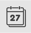 icon calendar day number 27 line flat vector image vector image