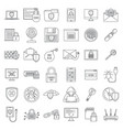 internet security icon set outline style vector image