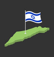 israel flag and map israeli banner ribbon jewish vector image vector image