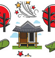 korean symbols house and sunset plant and firework vector image vector image