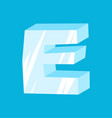 letter e ice font icicles alphabet freeze vector image vector image