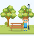 little boy in the park character vector image