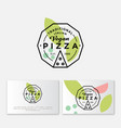 logo pizza vegan simple linear stamp pizzeria vector image