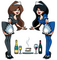 maid serving drinks vector image