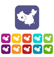 map of china icons set flat vector image
