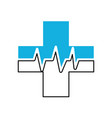 medical cross with heart beat healthy vector image vector image